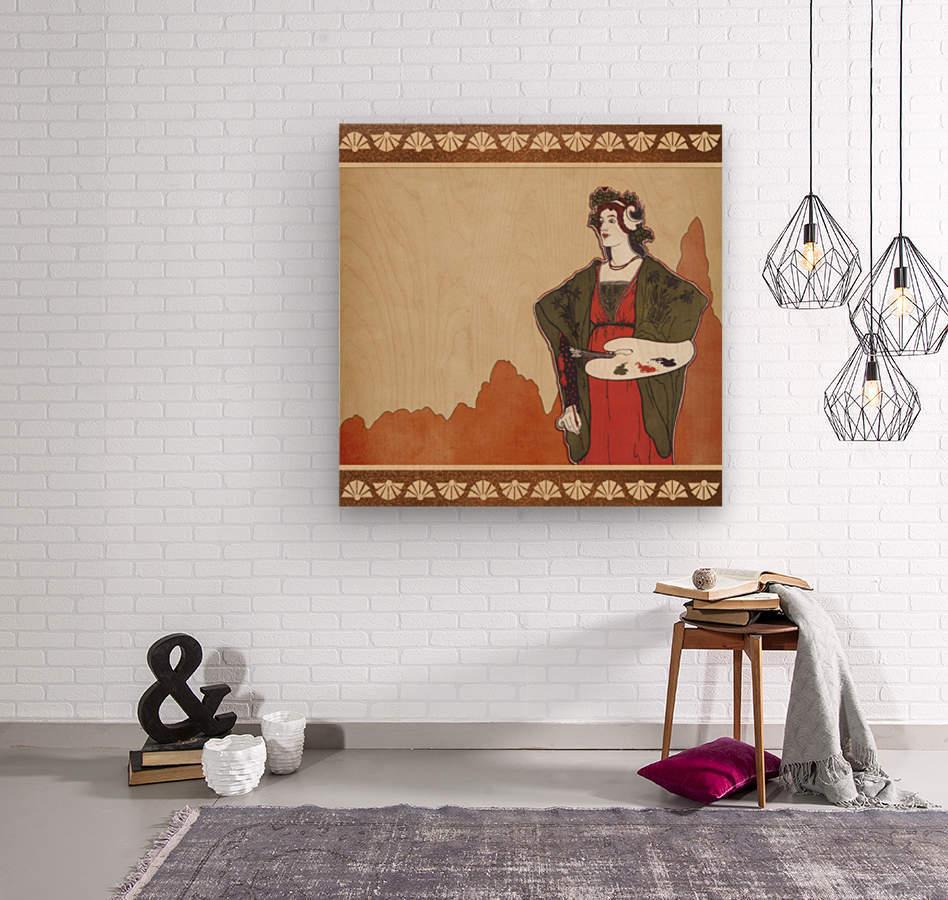 art nouveau vintage woman artist  Wood print