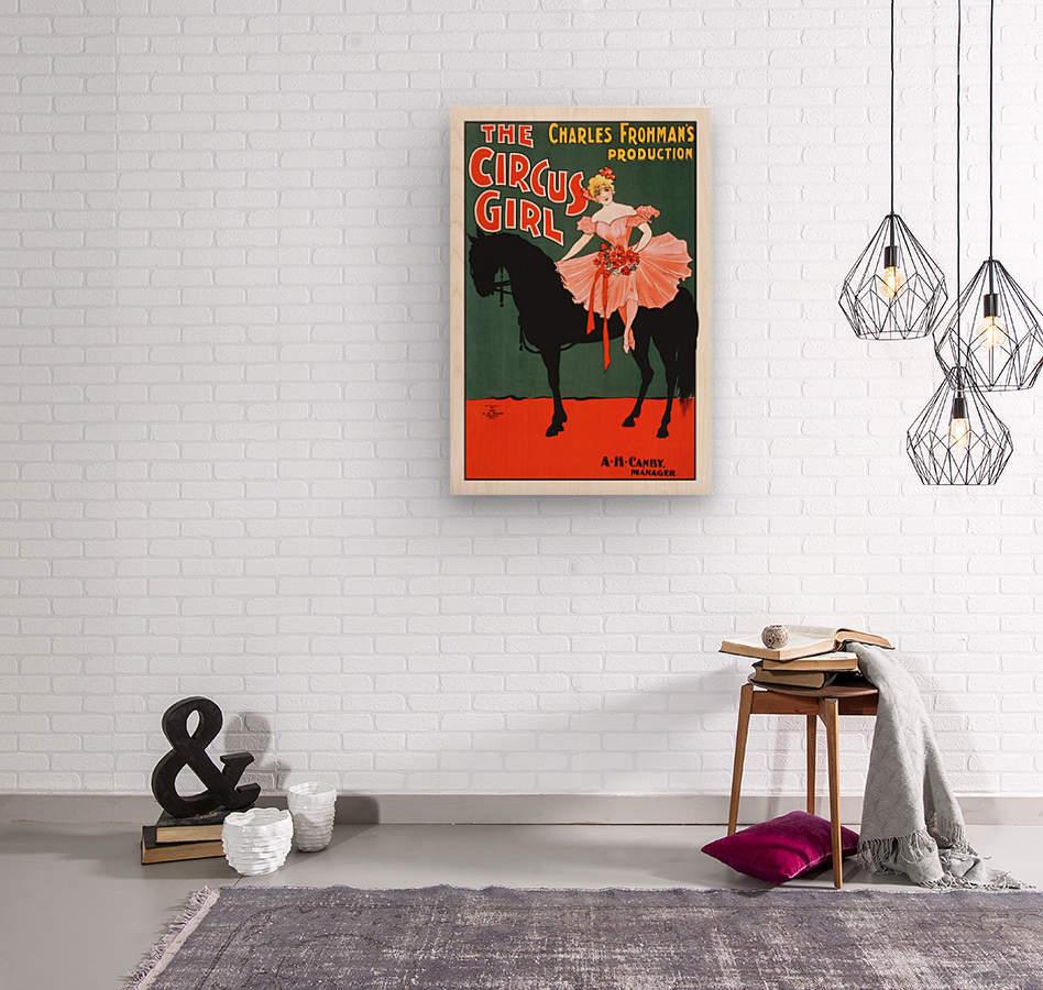 the circus girl vintage poster girl  Wood print