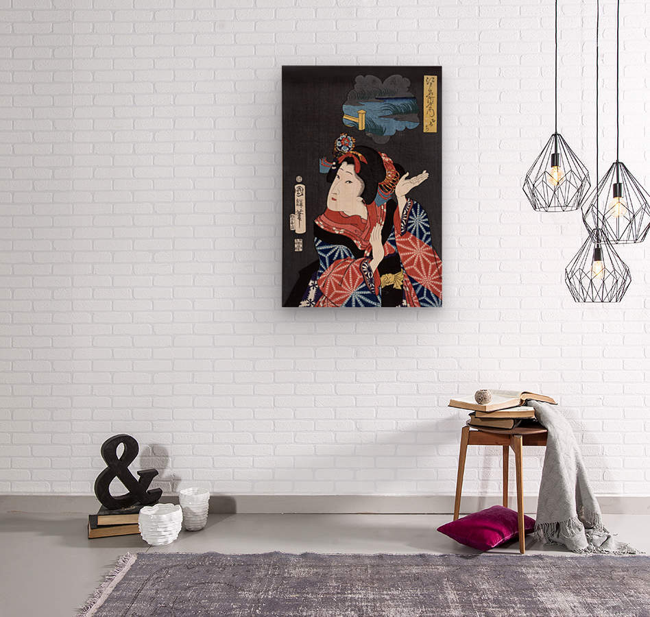 japanese maiden young woman female  Wood print