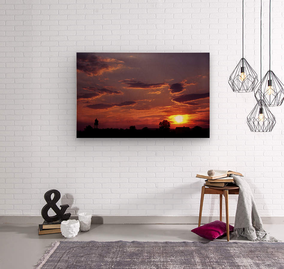 Manasas Battlefields Sunset With Statue Silhouette in left Corner  Wood print