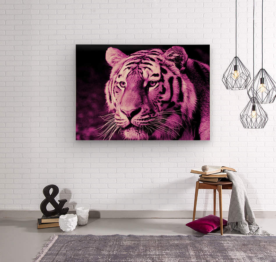Tiger pop pink  Wood print