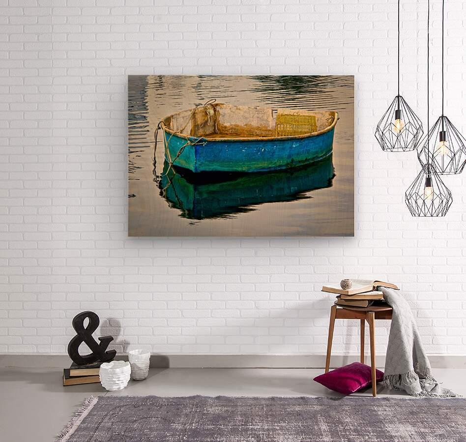 Anchored Boat at Dawn  Wood print