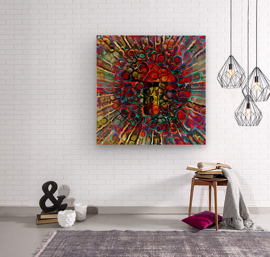 Colorful Mushroom  Wood print