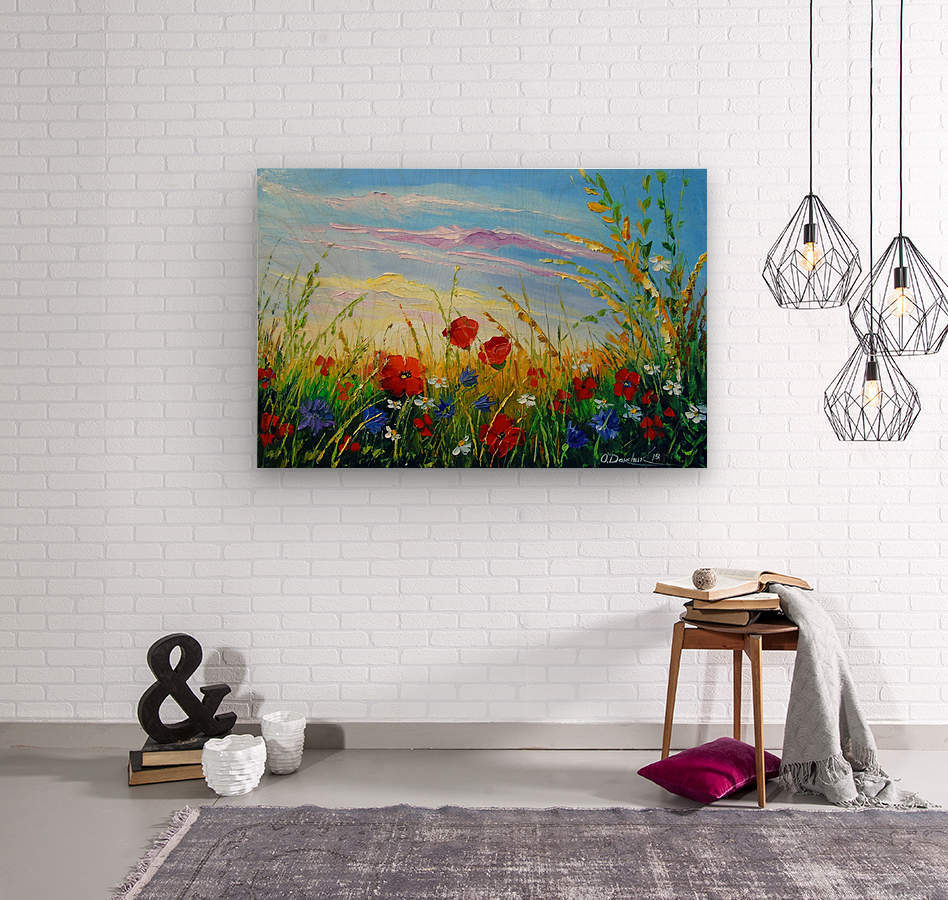 Summer flowers in the oil painting field  Wood print
