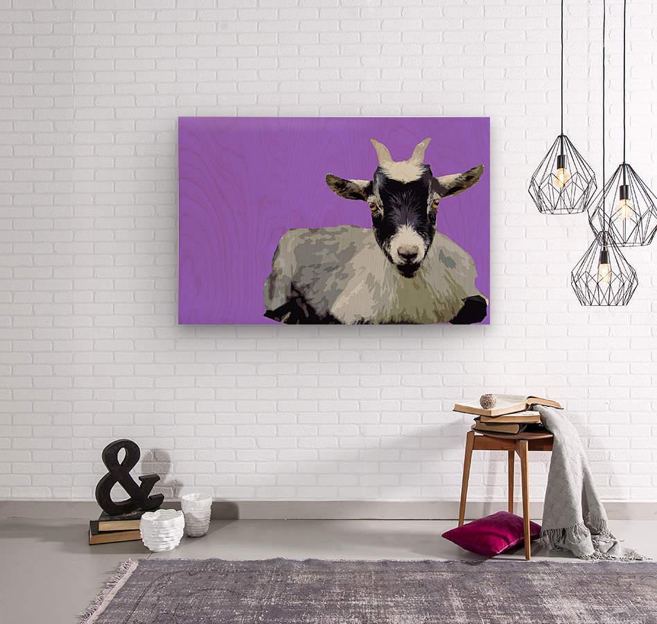 Goat popart purple  Wood print