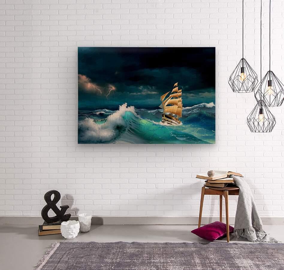 Hard way sailboat. sailing ship  Wood print