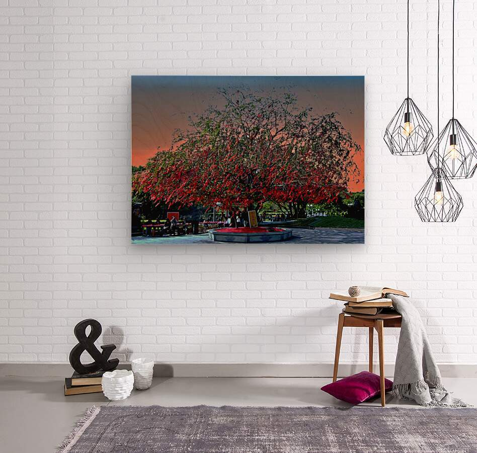 P36 - Red Red Tree  Wood print