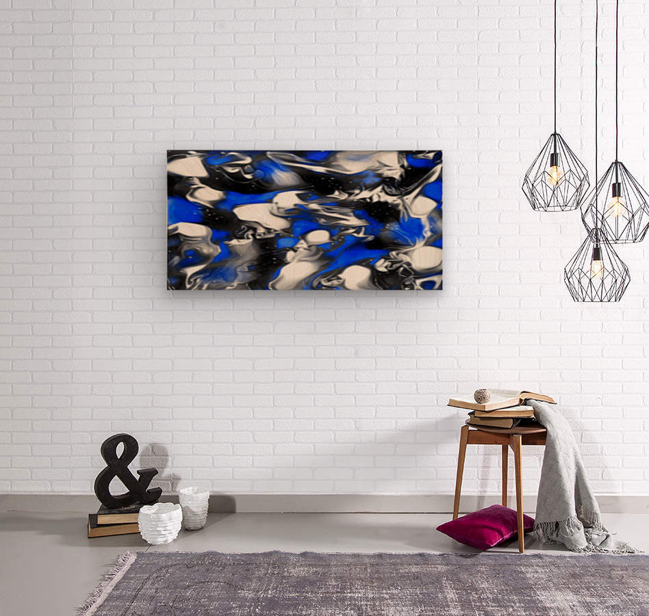 Booster - blue white black silver spots swirls abstract wall art  Wood print