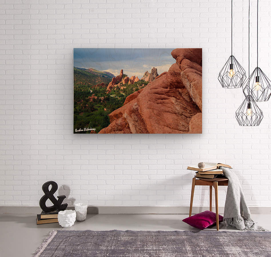 Beautiful Red Rock structures in the Desert  Wood print