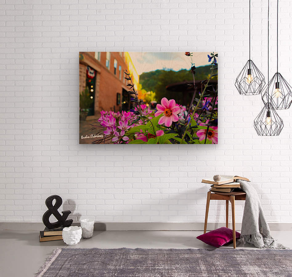 Beautiful pink and purple flowers in European city  Wood print