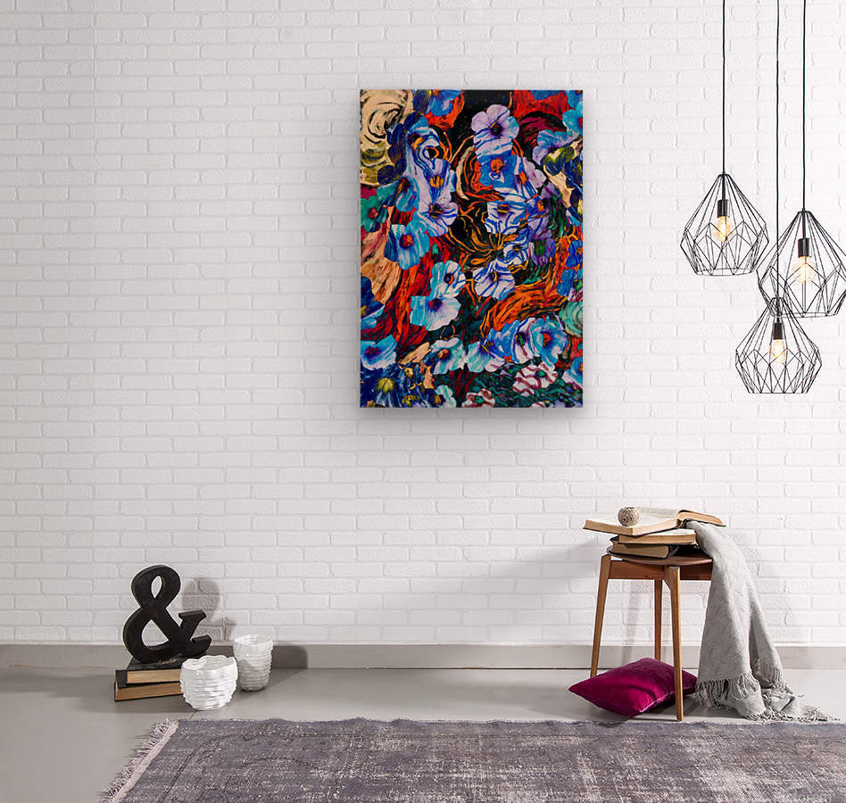 floral mottled indigo  Wood print