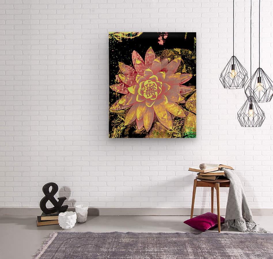 Pink fire lotus   Impression sur bois