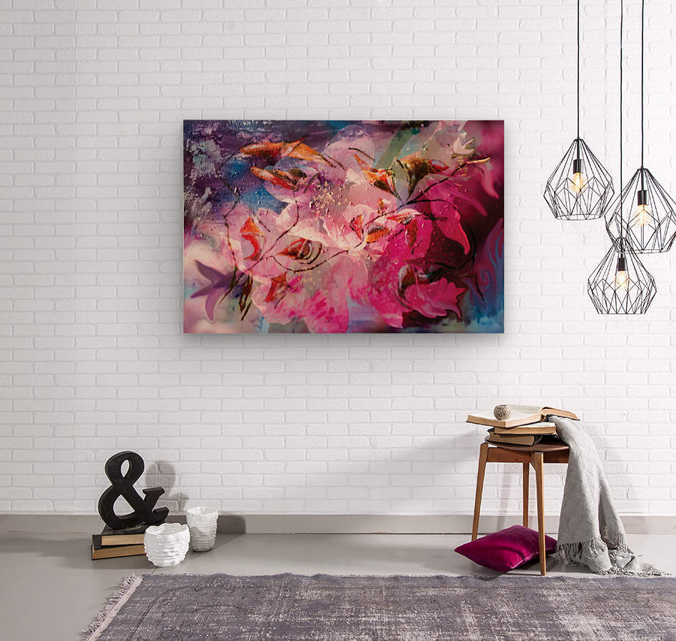 floral creation abstraction  Wood print