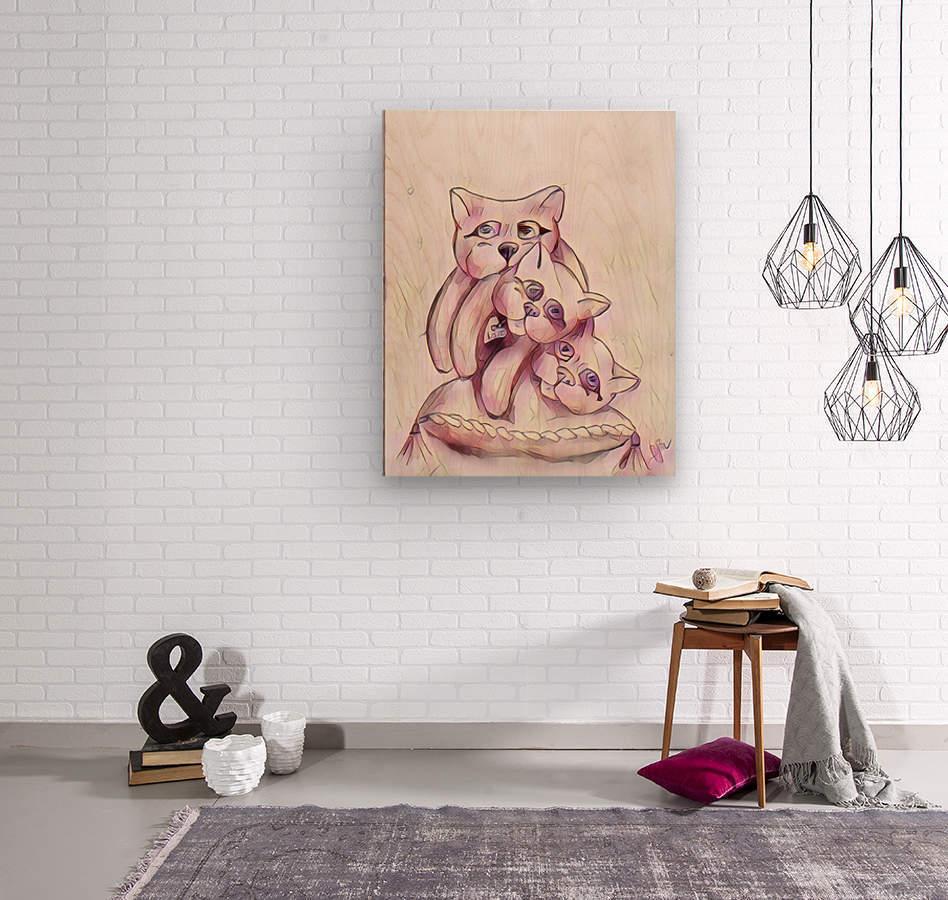 Chats sur coussin  Wood print