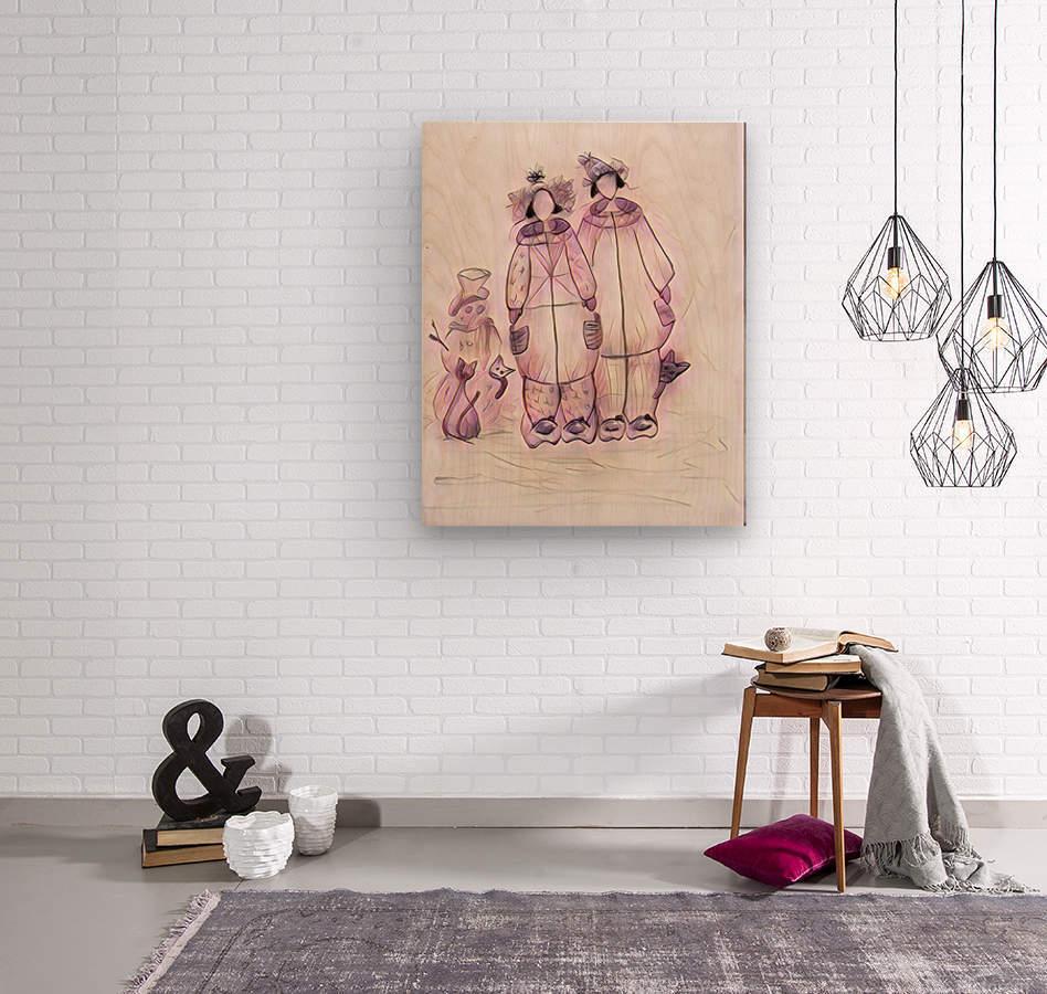 Les raquetteuses et les chats  Wood print