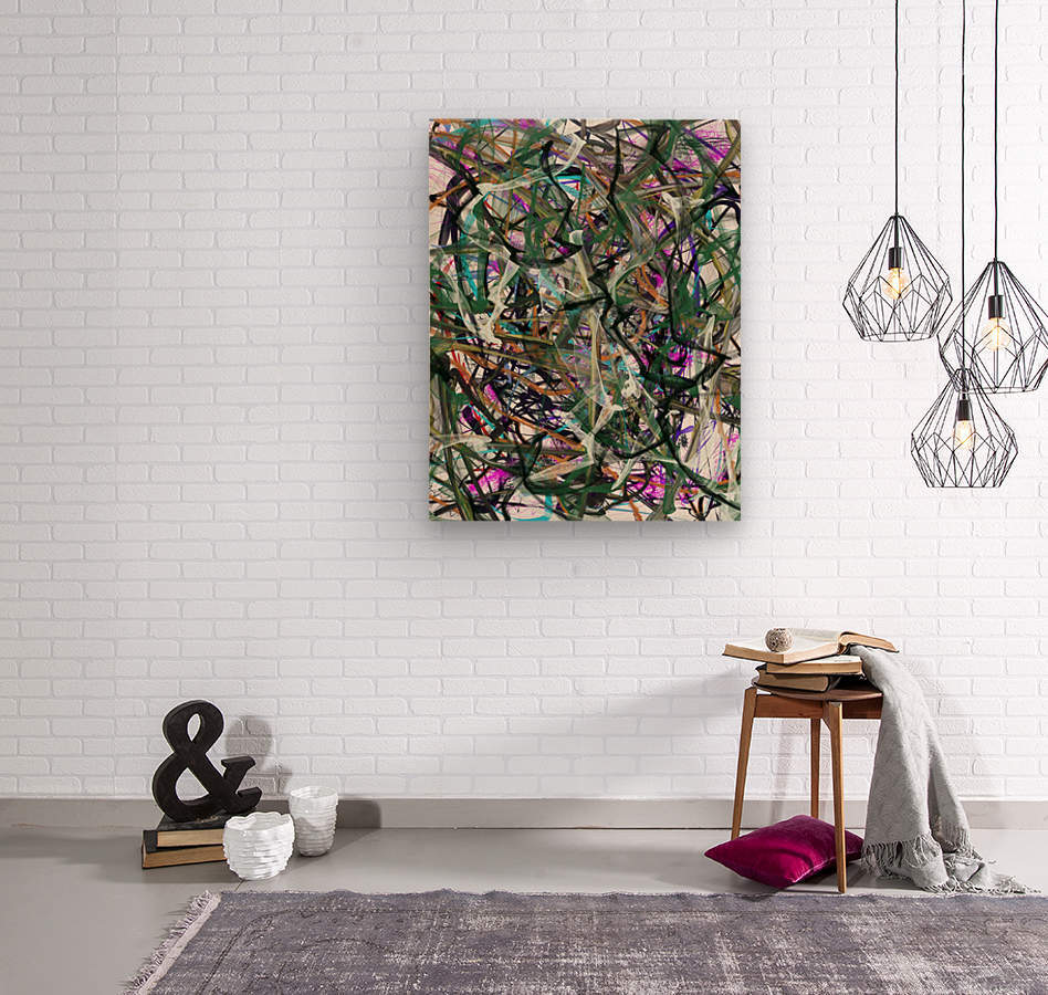 dancingonFire_GreenBlackBlue  Wood print
