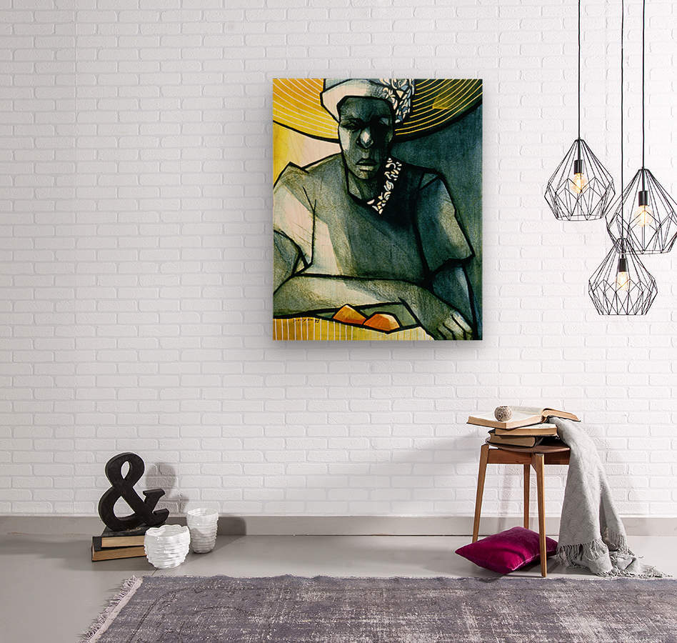 Woman with 2 mangoes  Wood print