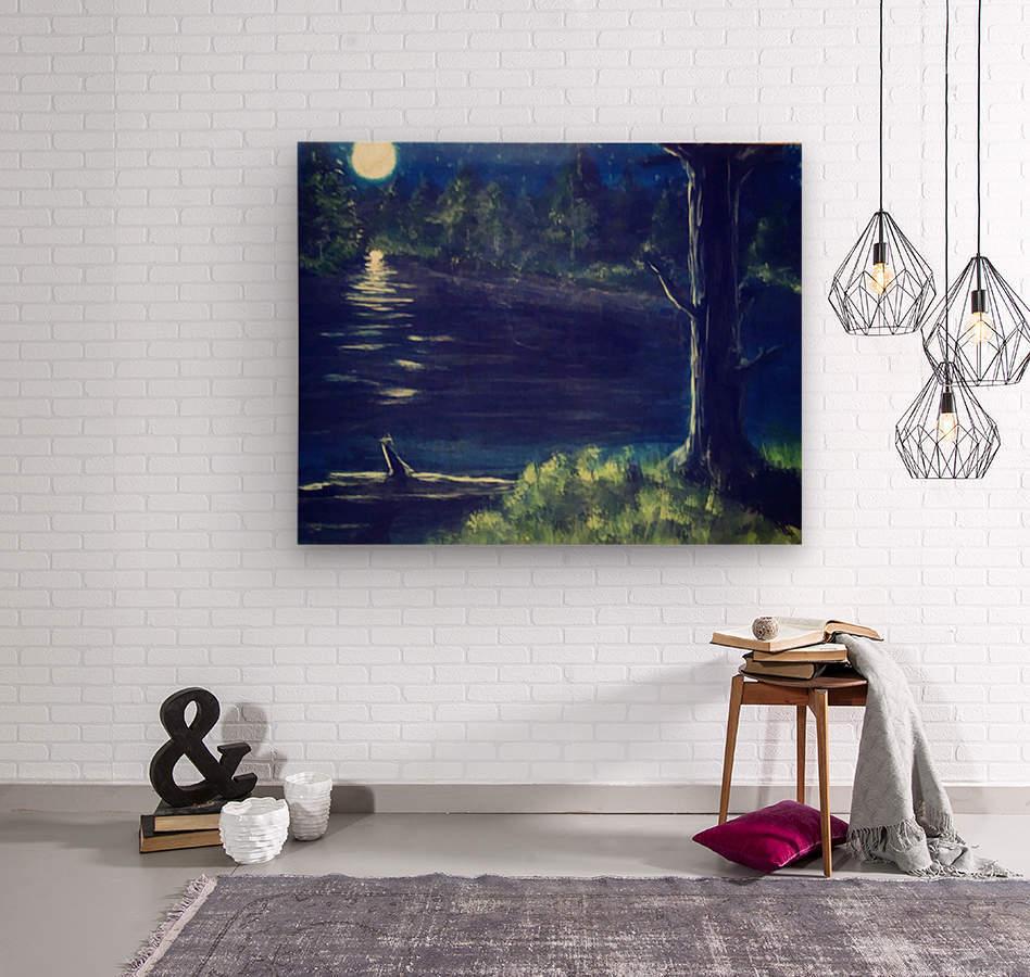 Peaceful Moonlit night  Wood print