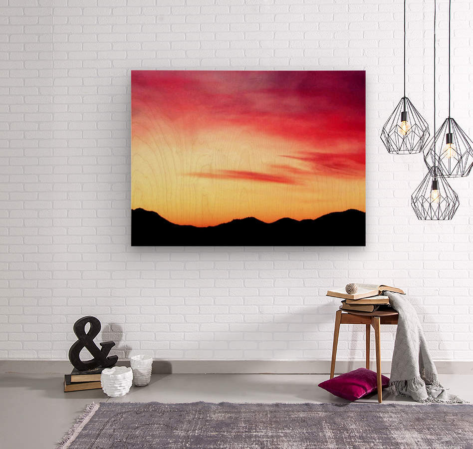 Colorful Dusk Mountain view  Wood print