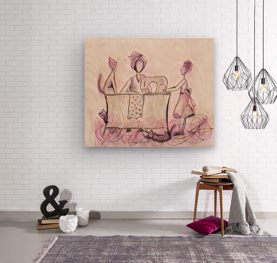La couturière et ses chats  Wood print