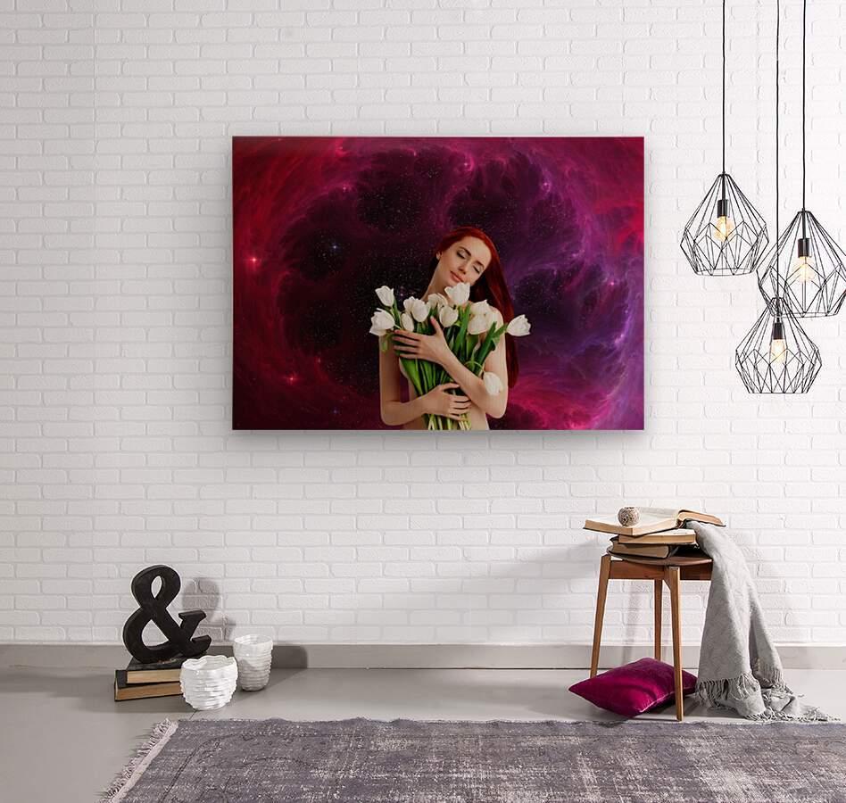 Girl with tulips. Madonna 3  Wood print
