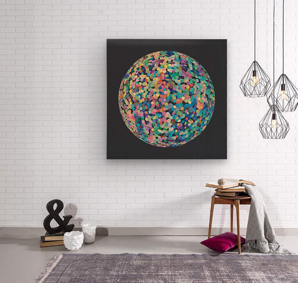 RONDI pastel dark grey background  Wood print