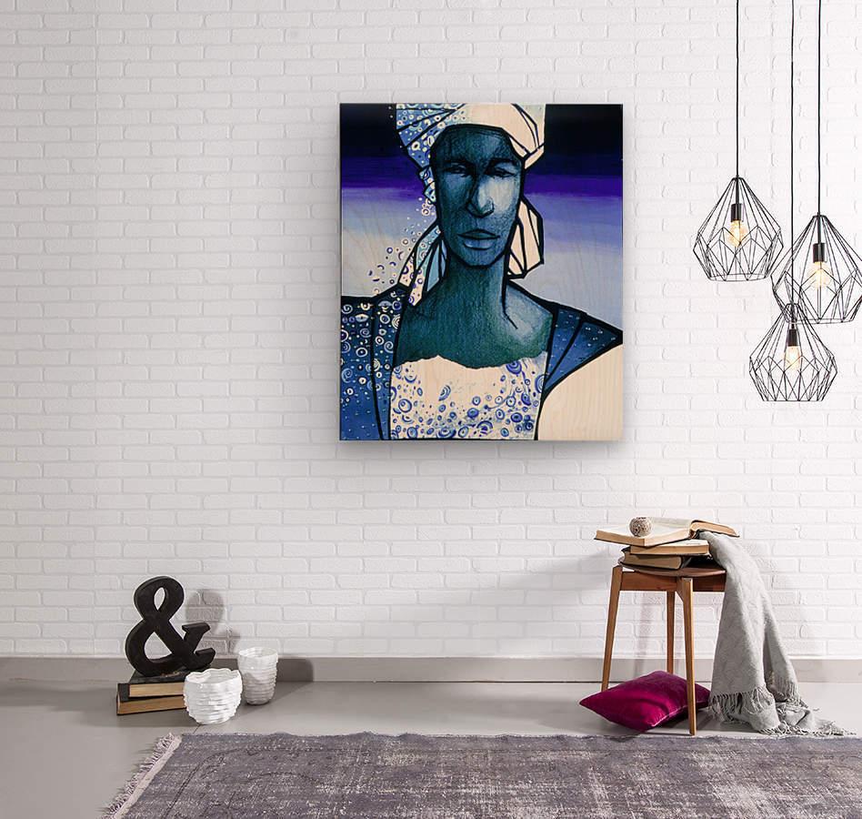 femme au turban bleu  Wood print