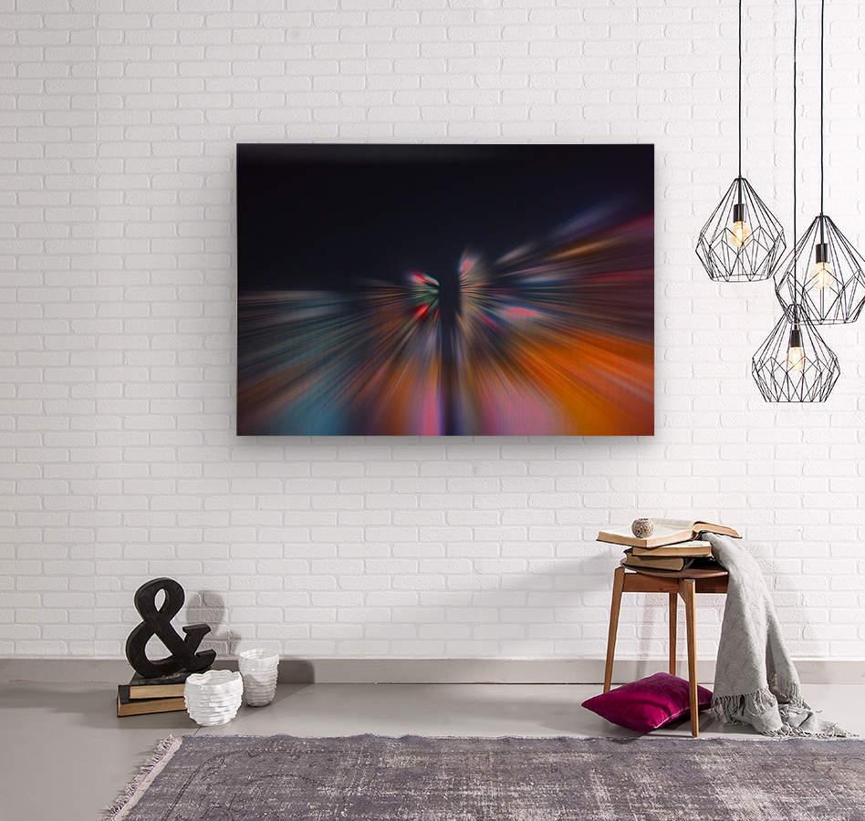 Radial_orangeblue  Wood print