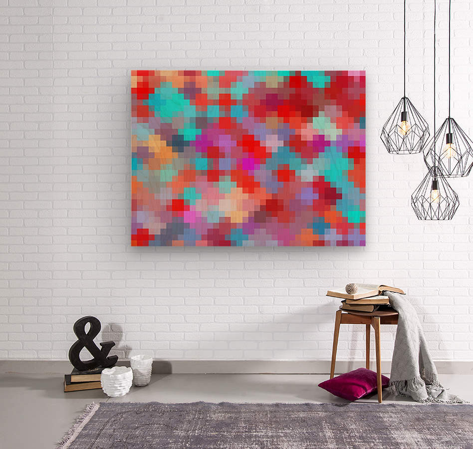 geometric square pixel pattern abstract in pink red blue  Wood print