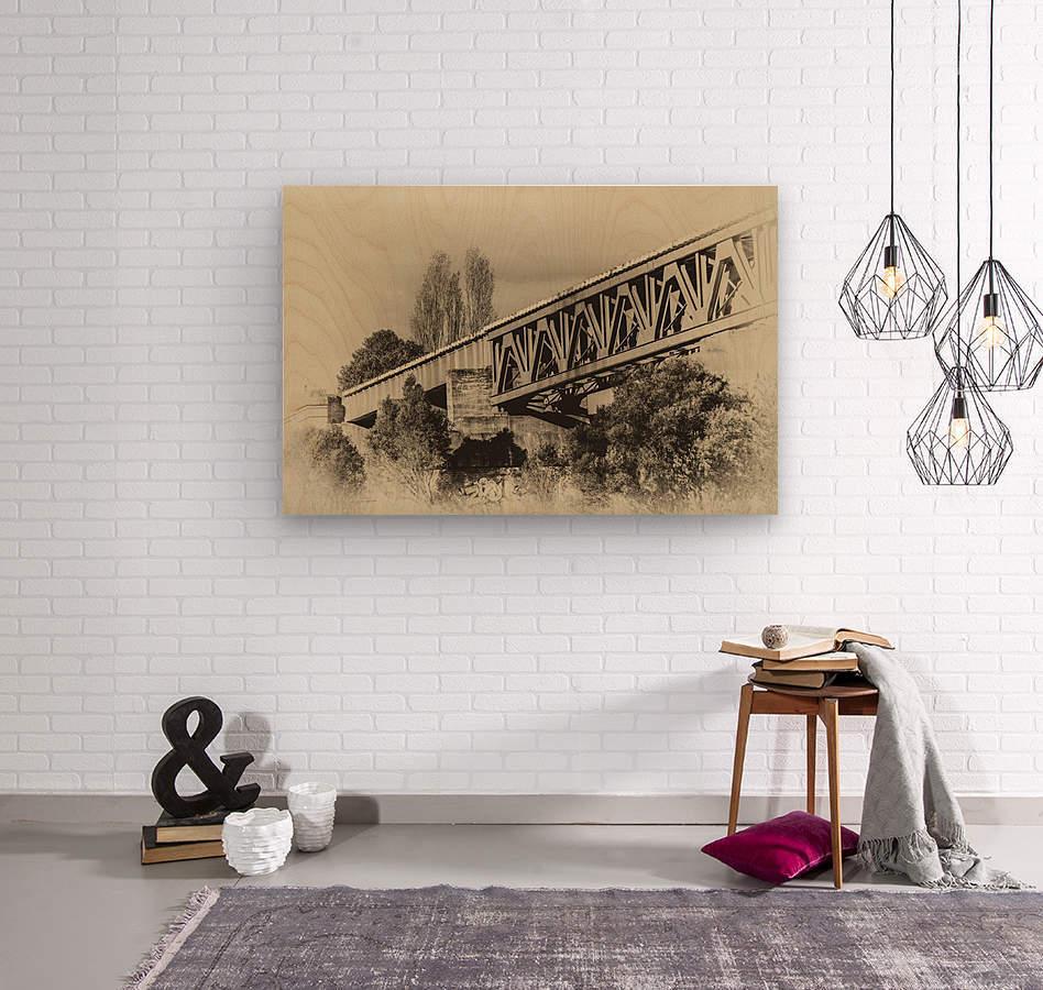 Railway Bridge in B&W  Wood print