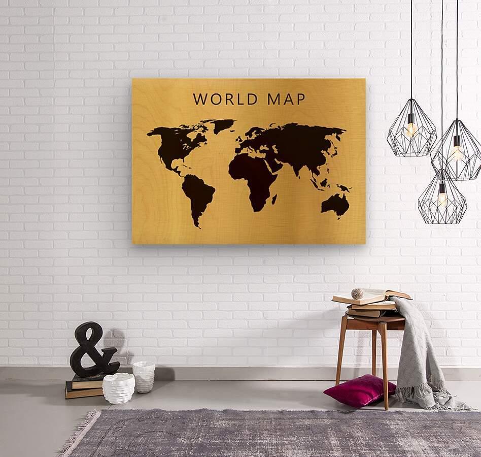 map world 4  Wood print