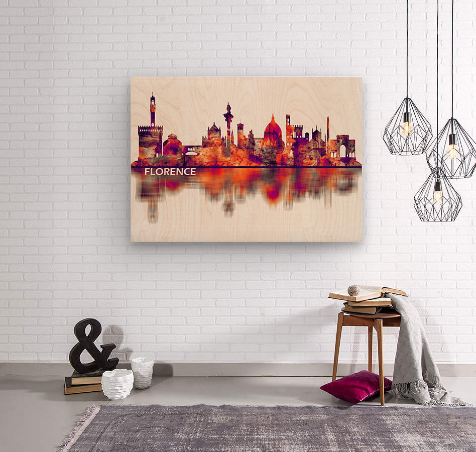 Florence Italy Skyline  Wood print