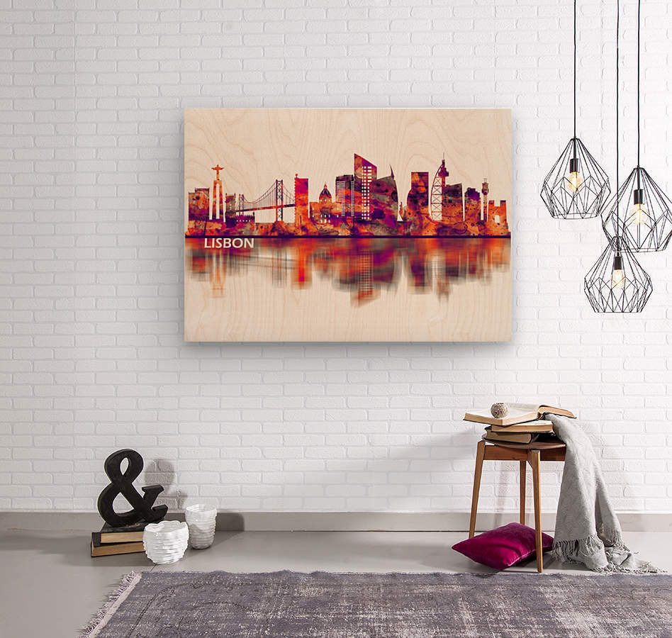 Lisbon Portugal Skyline  Wood print