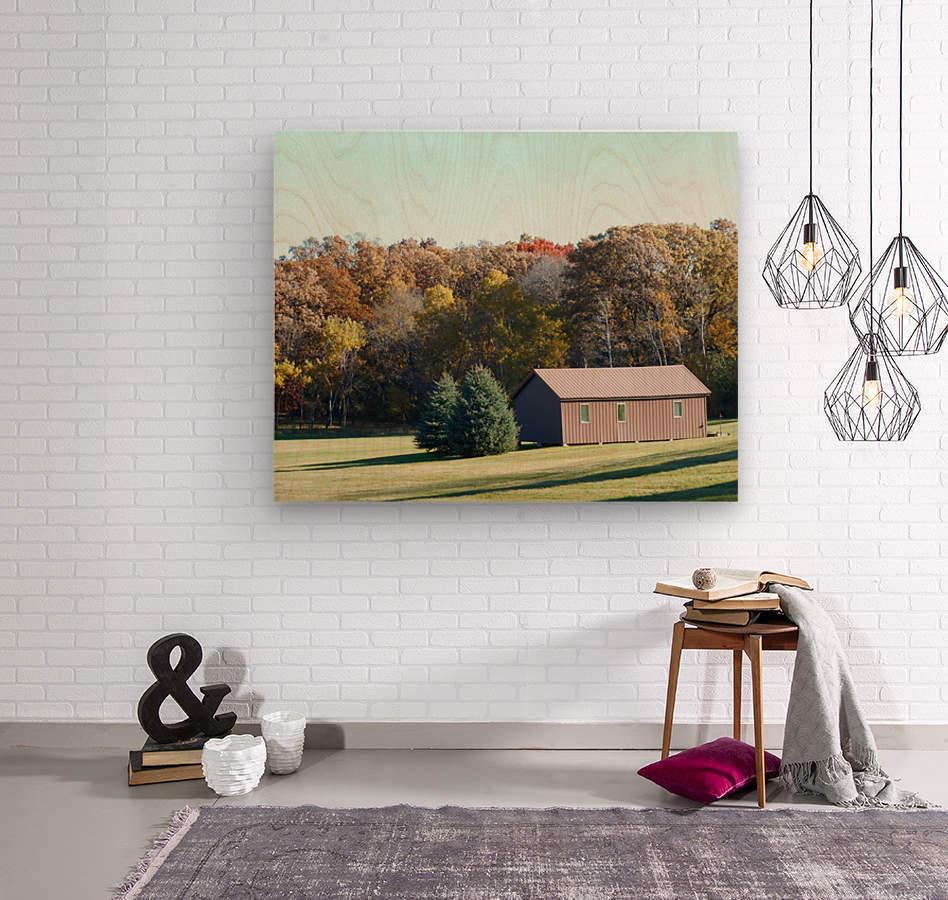 Pole Barn in Fall  Wood print