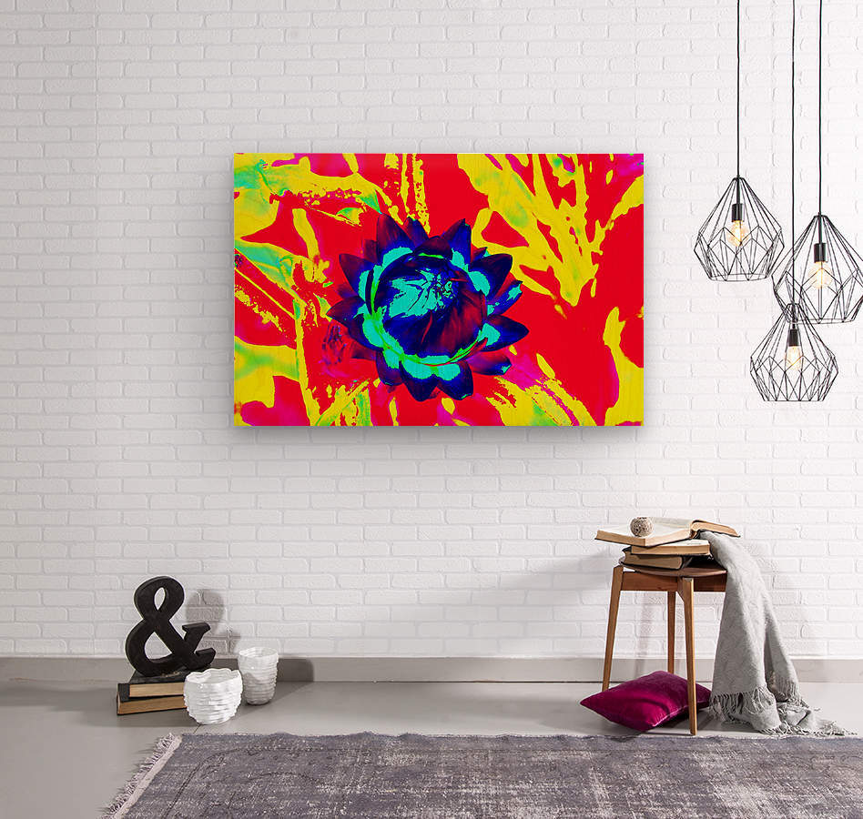 Graphic Flower Effect 2  Wood print