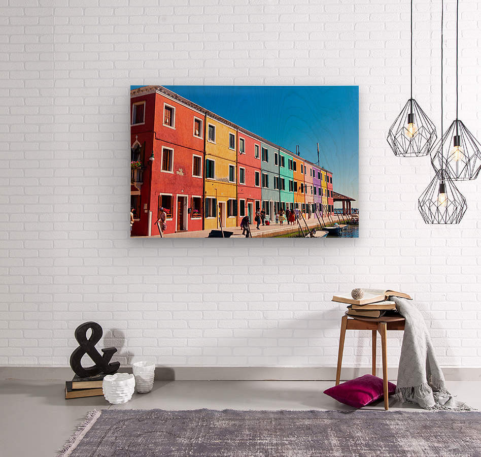 Colorful Venice Houses  Wood print