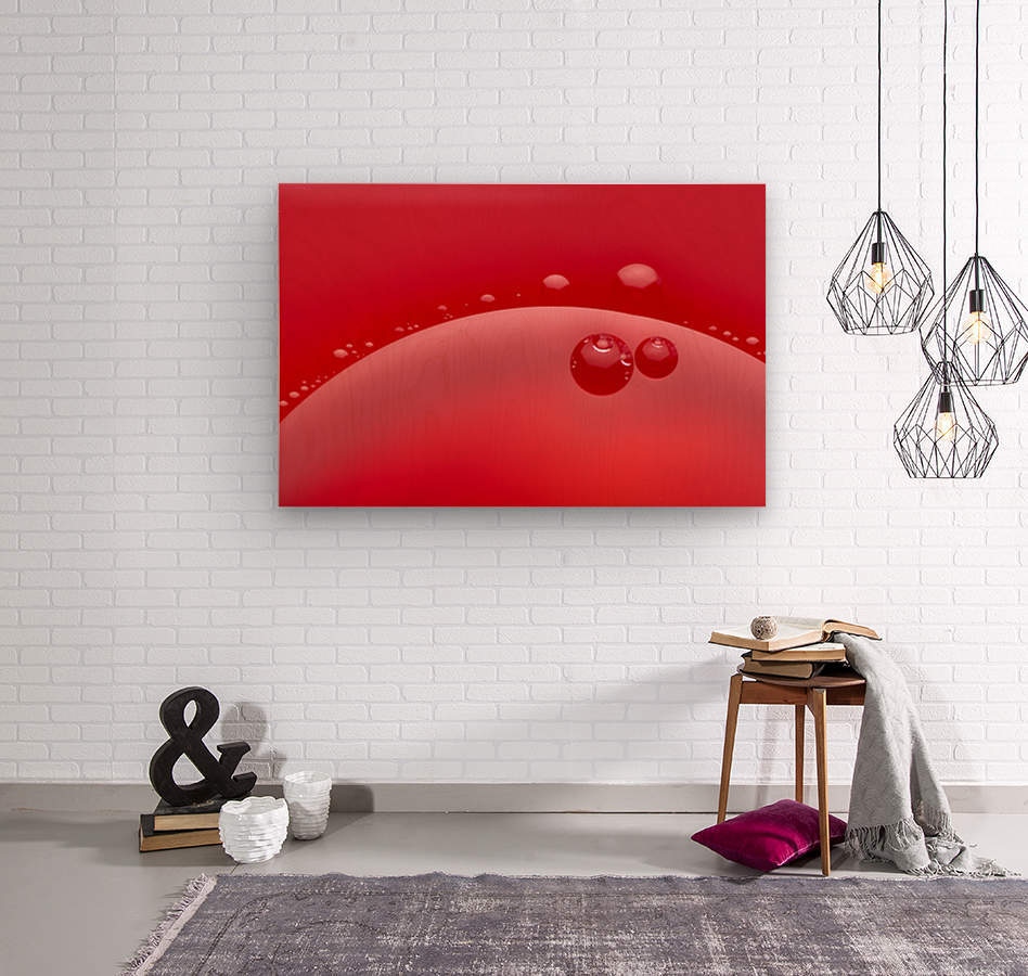 Abstract background of red color and circle shape  Wood print