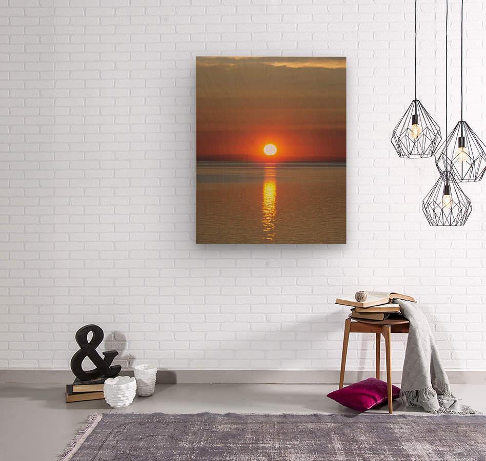 Orange Sunset Vertical  Wood print