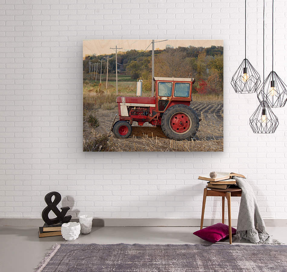 Tractor and Telephone Poles  Wood print