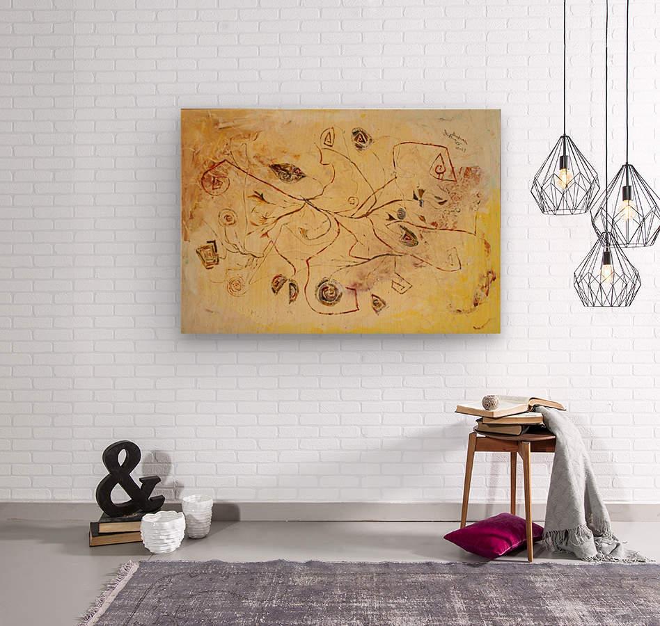 copper threads  Wood print
