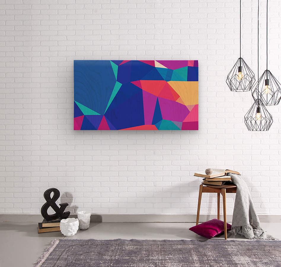 abstract geometric triangular art  Wood print