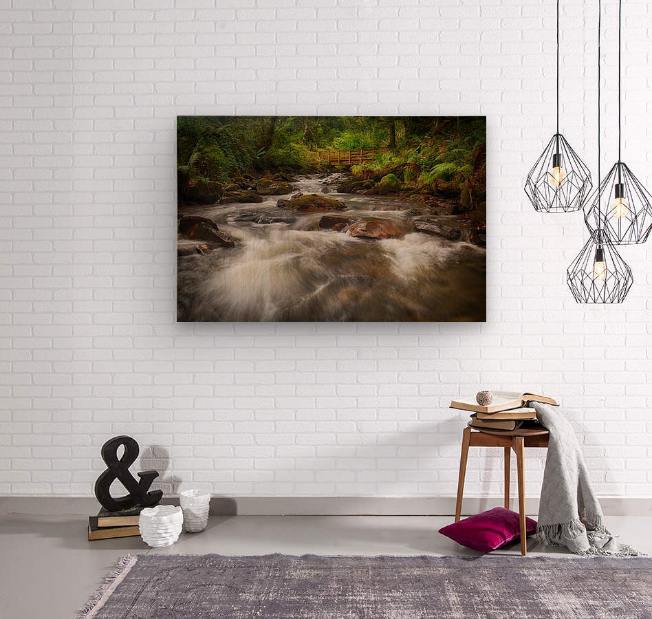 The wooden bridge over the river Melin  Wood print