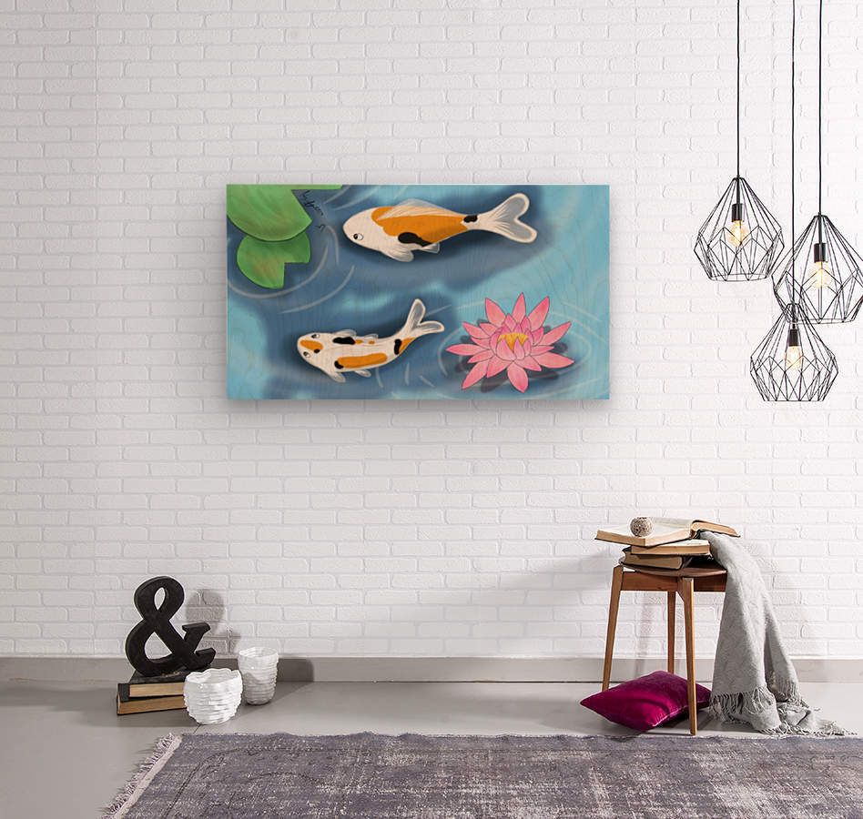 Cartoon Koi fish  Wood print