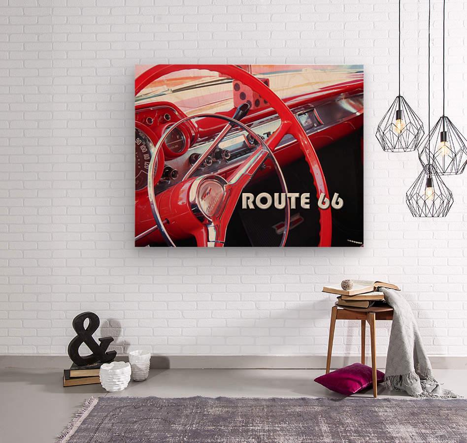 1957 Bel Air Interior - Route 66 Chrome  Wood print