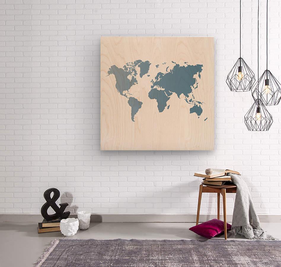 GREY WORLD MAP  Wood print