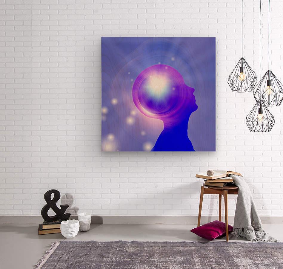 Human Head with Light  Wood print