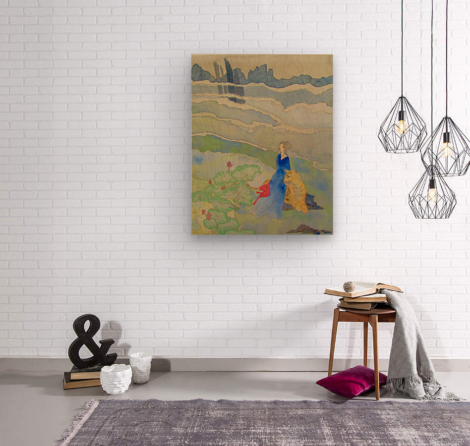 Goddess and Tiger  Wood print
