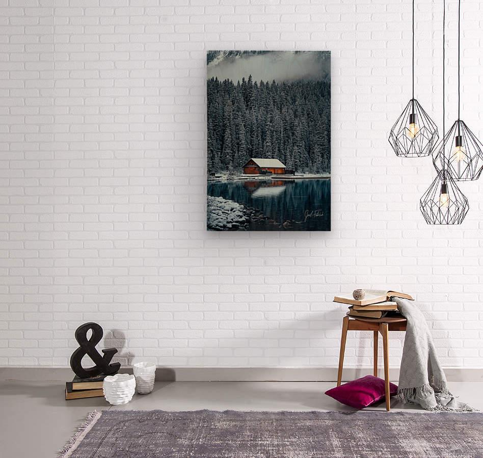 Lake Louise Cabin  Wood print