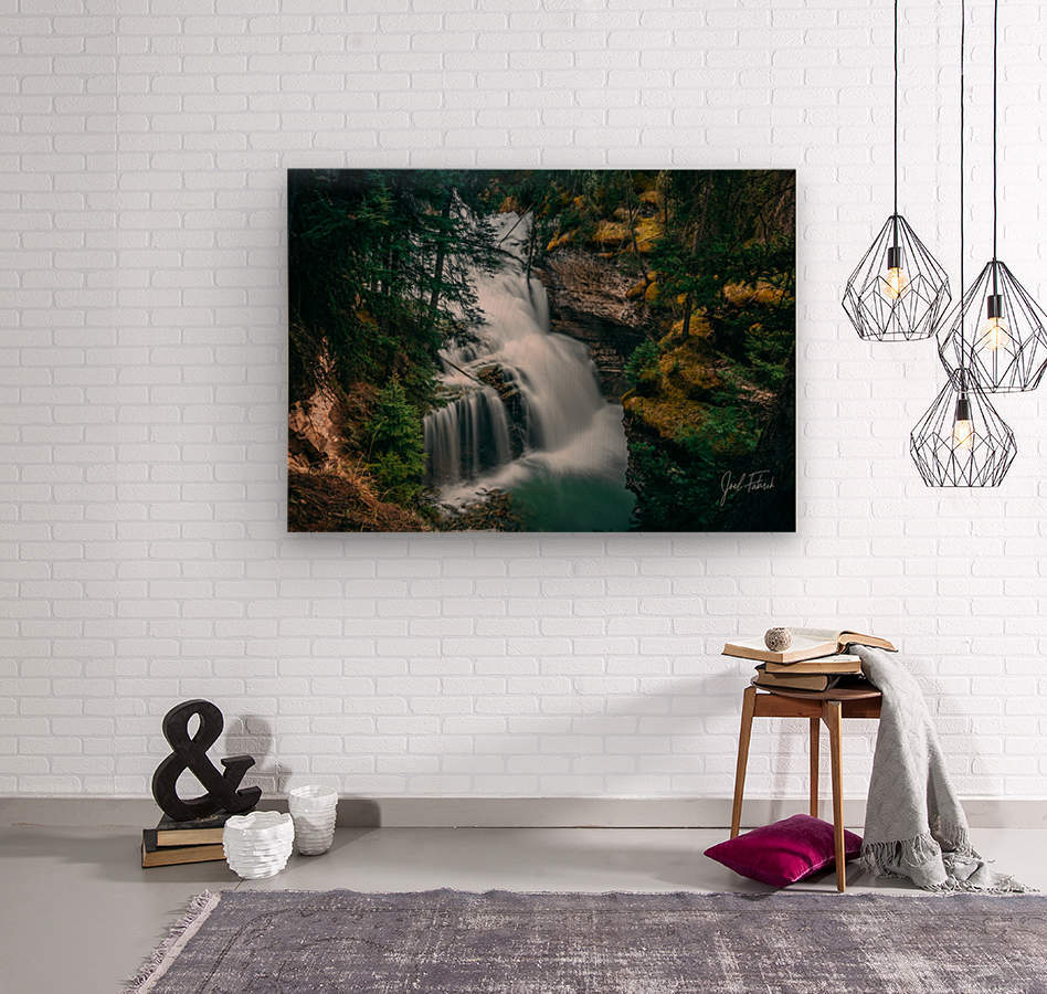 Johnson Canyon Trail Falls Long Exposure  Wood print