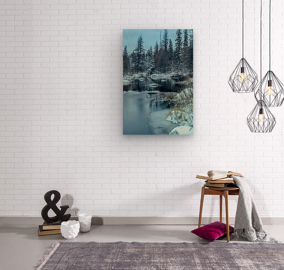 River and snow  Wood print